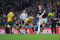 Dave Denton of Scotland gets his pass away just before he is tackled during the Quarter Final of the Rugby World Cup 2015 between Australia and Scotland - 18/10/2015 - Twickenham Stadium, London<br /> Mandatory Credit: Rob Munro/Stewart Communications