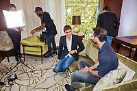 Oktober 21, 2015, Geneve , Swiss, Tournament Director Richard Krajicek meets with Roger Federer  <br /> Photo: Tennisimages/Henk Koster