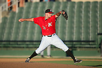 Kannapolis Intimidators relief pitcher Matt Cooper (32) in action against the Asheville Tourists at Intimidators Stadium on June 28, 2015 in Kannapolis, North Carolina.  The Tourists defeated the Intimidators 6-4.  (Brian Westerholt/Four Seam Images)