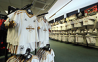 Saturday, 06 June 2015<br /> Pictured: Children shirts in the club shop<br /> Re: Swansea City FC new home kit launch at the club shop of the Liberty Stadium, south Wales, UK.
