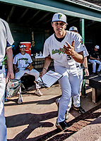 20 June 2021: Vermont Lake Monsters pitcher Brett Hansen, from Pleasanton, CA, prepares in the dugout prior to a game against the Westfield Starfires at Centennial Field in Burlington, Vermont. The Lake Monsters fell to the Starfires 10-2 at Centennial Field, in Burlington, Vermont. Mandatory Credit: Ed Wolfstein Photo *** RAW (NEF) Image File Available ***