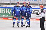 Colton Jobke (Nr.7 - ERC Ingolstadt), Fabio Wagner (Nr.5 - ERC Ingolstadt) und Daniel Pietta (Nr.86 - ERC Ingolstadt) beim Spiel in der Gruppe Sued der DEL, ERC Ingolstadt (dunkel) - Augsburger Panther (hell).<br /> <br /> Foto © PIX-Sportfotos *** Foto ist honorarpflichtig! *** Auf Anfrage in hoeherer Qualitaet/Aufloesung. Belegexemplar erbeten. Veroeffentlichung ausschliesslich fuer journalistisch-publizistische Zwecke. For editorial use only.