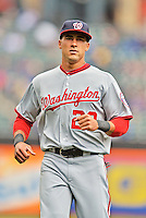 11 April 2012: Washington Nationals shortstop Ian Desmond warms up prior to a game against the New York Mets at Citi Field in Flushing, New York. The Nationals shut out the Mets 4-0 to take the rubber match of their 3-game series. Mandatory Credit: Ed Wolfstein Photo