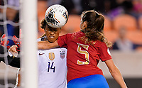 HOUSTON, TX - FEBRUARY 03: Fabiola Sanchez #5 of Costa Rica puts on a stranglehold of Jessica McDonald #14 of the United States during a game between Costa Rica and USWNT at BBVA Stadium on February 03, 2020 in Houston, Texas.