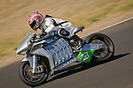 August 19th 2010 : Portland Oregon, USA. Test ride of the first Electric Superbike, the MotoCzysz E1pc. Test ride at the track Oregon Raceway Park, east of Portland. Moto Journal and Motorcyclist shared the first ever journalist test ride of the electric Superbike MotoCzysz E1Pc. The bike won the Tourist Trophy electric race in the Isle of Man TT Zero in June 2010 and won the Laguna Seca, California electric FIM race called e-Power before the MotoGP.