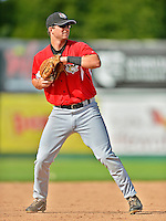 19 July 2012: Tri-City ValleyCats infielder Ryan Dineen warms up prior to a game against the Vermont Lake Monsters at Centennial Field in Burlington, Vermont. The ValleyCats defeated the Lake Monsters 6-3 in NY Penn League action. Mandatory Credit: Ed Wolfstein Photo