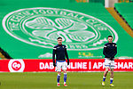 Celtic v St Johnstone…06.12.20   Celtic Park      SPFL<br />Michael O'Halloran and Scott Tanser during the pre match warm up<br />Picture by Graeme Hart.<br />Copyright Perthshire Picture Agency<br />Tel: 01738 623350  Mobile: 07990 594431