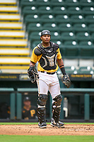 FCL Pirates Gold catcher Geovanny Planchart (22) during a game against the FCL Rays on July 26, 2021 at LECOM Park in Bradenton, Florida. (Mike Janes/Four Seam Images)