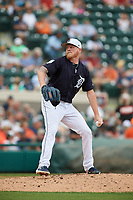 Detroit Tigers relief pitcher Daniel Stumpf (68) delivers a pitch during a Grapefruit League Spring Training game against the New York Yankees on February 27, 2019 at Publix Field at Joker Marchant Stadium in Lakeland, Florida.  Yankees defeated the Tigers 10-4 as the game was called after the sixth inning due to rain.  (Mike Janes/Four Seam Images)