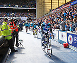 Cyclists arriving at Ibrox from Inverness at half time for the Rangers Charity Foundation