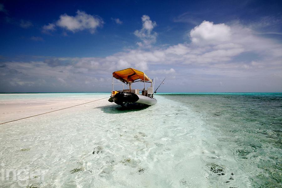 Geof's boat on Prison Island, Cocos Keeling Islands, Indian Ocean