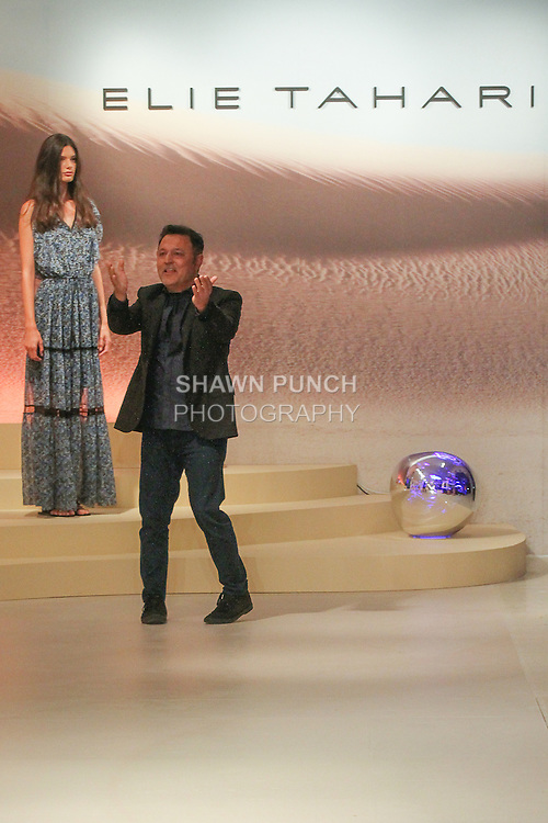 """Fashion designer Elie Tahari thanks audience for attending his Elie Tahari Spring 2016 """"Future-Nature"""" collection, during New York Fashion Week Spring 2016."""
