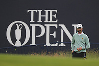 12th July 2021; The Royal St. George's Golf Club, Sandwich, Kent, England; The 149th Open Golf Championship, practice day; Rikard Karlberg  (SWE) prepares to play his third shot from the edge of the green on the 18th hole