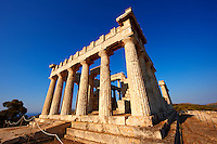 The Greek Doric Temple of Aphaia (500BC).  Aegina, Greek Saronic Islands