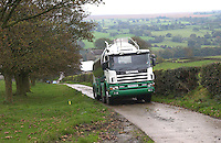 Milk tanker visiting a farm, Bentham, Yorkshire.