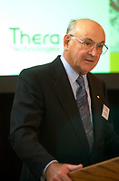 Montreal, May 10, 2001<br /> A. Jean De Grandpre, C.C., Q.C., Chairman of the Board of Theratechnologies Inc. present his report at the company annual meeting, May 10 in Montreal, CANADA.<br /> Theratechnologies Inc is a Canadian biopharmaceutical company engaged in the fields of therapeuticc peptides and cell theraphy.<br /> One of their products ; Theralux (tm) has reached Phase I/II status in CML ans is at a pivotal stage in NHL, bringing this product closer to commercialization<br /> By the 2nd quater of 2002, Theratechnologies expect to fullfill all the requirements to be listed on Nasdaq.<br /> Photo by Pierre Roussel / Liaison<br /> NOTE :  Uncorrected Nikon D-1 JPEG opened as NTSC saved as Adobe RGB color space..