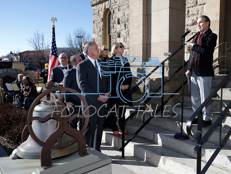 Carson City Mayor Bob Crowell speaks on the steps of the Nevada State Museum to kick off the celebration of the 150th year of the Carson City Mint, in Carson City, Nev. on Tuesday, Feb. 4, 2020. <br /> Photo by Cathleen Allison/Nevada Momentum