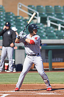 Peoria Javelinas first baseman Michael Chavis (11), of the Boston Red Sox organization, at bat during an Arizona Fall League game against the Salt River Rafters on October 16, 2017 at Salt River Fields at Talking Stick in Scottsdale, Arizona.  Peoria defeated Salt River 6-2.  (Zachary Lucy/Four Seam Images)