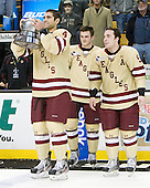 Tommy Cross (BC - 4), Paul Carey (BC - 22), Barry Almeida (BC - 9) - The Boston College Eagles defeated the Boston University Terriers 3-2 (OT) to win the 2012 Beanpot championship on Monday, February 13, 2012, at TD Garden in Boston, Massachusetts.