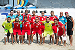 Players of Lebanon pose for photos during the Beach Soccer Men's Team Bronze Medal Match between Lebanon and Afghanistan on Day Nine of the 5th Asian Beach Games 2016 at Bien Dong Park on 02 October 2016, in Danang, Vietnam. Photo by Marcio Machado / Power Sport Images