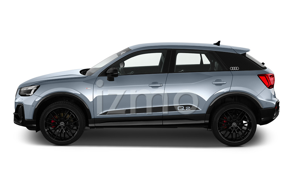 Driver side profile view of a 2021 Audi Q2 Edition One 5 Door SUV