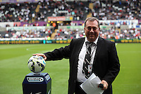 Pictured: Announcer and Caplain Kevin Johns. Saturday 23 August 2014<br /> Re: Premier League, Swansea City FC v Burnley at the Liberty Stadium, south Wales