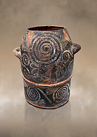 Minoan Kamares Ware with polychrome leaf decorations , Poros-Heraklion 1900-1700 BC; Heraklion Archaeological  Museum.<br /> <br /> This style of pottery is named afetr Kamares cave where this style of pottery was first found