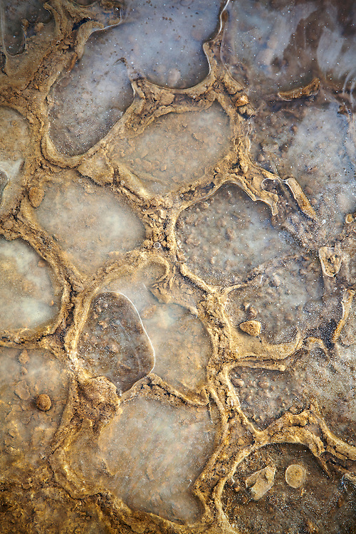 Ice mingles in the mud patterns at The Racetrack in winter in Death Valley National Park, California, USA