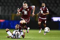 Rolando Mandragora of Udinese Calcio and Andrea Belotti of Torino FC  compete for the ball during the Serie A football match between Torino FC and Udinese at Olimpico stadium in Torino ( Italy ), June 23th, 2020. Play resumes behind closed doors following the outbreak of the coronavirus disease. <br /> Photo Image Sport / Insidefoto