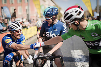 Philippe GILBERT (BEL/Deceuninck-Quick Step), Luke Rowe (GBR/SKY) & Michał Kwiatkowski (POL/SKY), friends from the roads around Manoca (and Nice), meet up on the start line<br /> <br /> Stage 8: Nice to Nice (110km)<br /> 77th Paris - Nice 2019 (2.UWT)<br /> <br /> ©kramon