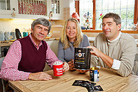 Pictured L-R: Alan, Sarah and James Wenden. Monday 05 November 2018<br /> Re: Welsh Brew Tea in Langland, Swansea, Wales, UK