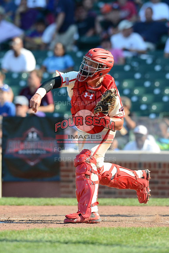 Catcher / First Baseman Chase Vallot (25) of St. Thomas More High School in Youngsville, Louisiana during the Under Armour All-American Game on August 24, 2013 at Wrigley Field in Chicago, Illinois.  (Mike Janes/Four Seam Images)