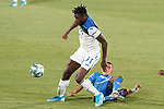 Getafe CF's Faycal Fajr (r) and Atalanta BC's Duvan Zapata during friendly match. August 10,2019. (ALTERPHOTOS/Acero)