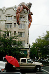 An inflatable sits on top of a building Saturday, June 9 2007, during the Rose Festival in Portland, Ore. The event spotlight the riches of the Pacific Northwest heritage and environment while offering colorful examples of many international cultures. (Chad Pilster)