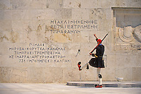 Greece, Athens, Evzones changing guard at the Tomb of the Unknown Soldier