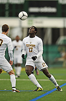 7 November 2012: University of Vermont Catamount Forward D.J. Edler, a Senior from Atlanta, GA, in action against the University of New Hampshire Wildcats at Virtue Field in Burlington, Vermont. The Wildcats shut out the top seeded Catamounts 1-0 in the America East playoff matchup. Mandatory Credit: Ed Wolfstein Photo