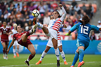 Houston, TX - Sunday April 8, 2018: Bianca Sierra, Alex Morgan, Cecilia Santiago during an International friendly match versus the women's National teams of the United States (USA) and Mexico (MEX) at BBVA Compass Stadium.