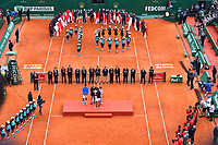 De gauche à droite, Albert Ramos-Vinolas, le prince Albert II de Monaco, Rafael Nadal et Elisabeth Ann de Massy durant la finale du Monte Carlo Rolex Masters 2017 qui a opposé Rafael Nadal à Albert Ramos-Vinolas sur le court Rainier III du Monte Carlo Country Club à Roquebrune Cap Martin le 23 avril 2O17. Nadal a remporté le match en 2 sets, 6/1 - 6/3. Il remporte ici ce tournoi pour la dixième fois.