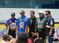 Apr. 15, 2012; Concord, NC, USA: NHRA funny car drivers (left to right) Ron Capps, NASCAR driver Martin Truex Jr , Bob Bode , John Force and Tony Pedregon during the Four Wide Nationals at zMax Dragway. Mandatory Credit: Mark J. Rebilas-