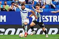 22nd September 2021: RCDE Stadium, Barcelona, Spain: La Liga Football, Espanyol versus Atletico Madrid; <br /> Luis Rioja of Deportivo Alaves competes for the ball with Adri Pedrosa of RCD Espanyol