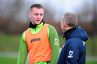 Ben Wilmot of Swansea City speaks with Steve Cooper Head Coach of Swansea City during the Swansea City Training at The Fairwood Training Ground in Swansea, Wales, UK.  Wednesday 08 January 2020