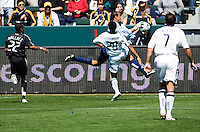DC United goalkeeper Josh Wicks saves a ball from advancing LA Galaxy defender Sean Franklin. The LA Galaxy and DC United play to 2-2 draw at Home Depot Center stadium in Carson, California on Sunday March 22, 2009.
