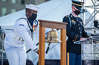 Service members read aloud the names of every person who lost their life during the 9/11 terrorist attacks at the Pentagon and wring a ceremonial bell for each name during the Pentagon September 11th Memorial service on the 20th anniversary at the Pentagon, Washington, D.C., September 11, 2021.<br /> CAP/MPI/RS<br /> ©RS/MPI/Capital Pictures