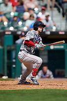 Pawtucket Red Sox Cole Sturgeon (13) at bat during an International League game against the Buffalo Bisons on August 25, 2019 at Sahlen Field in Buffalo, New York.  Buffalo defeated Pawtucket 5-4 in 11 innings.  (Mike Janes/Four Seam Images)
