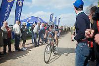 John Degenkolb (DEU/Giant-Shimano) coming out of Carrefour de l'Arbre pursued by Peter Sagan (SVK/Cannondale)<br /> <br /> Paris-Roubaix 2014