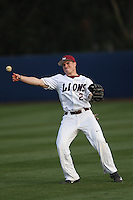 Sean Watkins (2) of the Loyola Marymount Lions throws between innings during a game against the TCU Horned Frogs at Page Stadium on March 16, 2015 in Los Angeles, California. TCU defeated Loyola, 6-2. (Larry Goren/Four Seam Images)