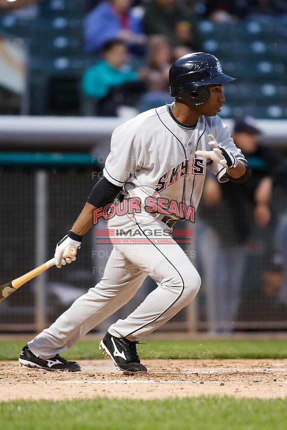 June 17, 2009: Jonathan Herrera of the Colorado Springs Sky Sox, Pacific Cost League Triple A affiliate of the Colorado Rockies, during a game at the Spring Mobile Ballpark in Salt Lake City, UT.  Photo by:  Matthew Sauk/Four Seam Images