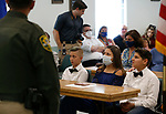 Friends and family members listen to Sheriff Kenny Furlong during a promotion ceremony at Carson City Sheriff's Office, in Carson City, Nev., on Thursday, July 2, 2020. <br /> Photo by Cathleen Allison