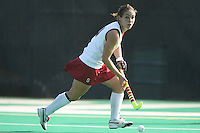 6 November 2007: Stanford Cardinal Xanthe Travlos during Stanford's 1-0 win against the Lock Haven Lady Eagles in an NCAA play-in game to advance to the NCAA tournament at the Varsity Field Hockey Turf in Stanford, CA.