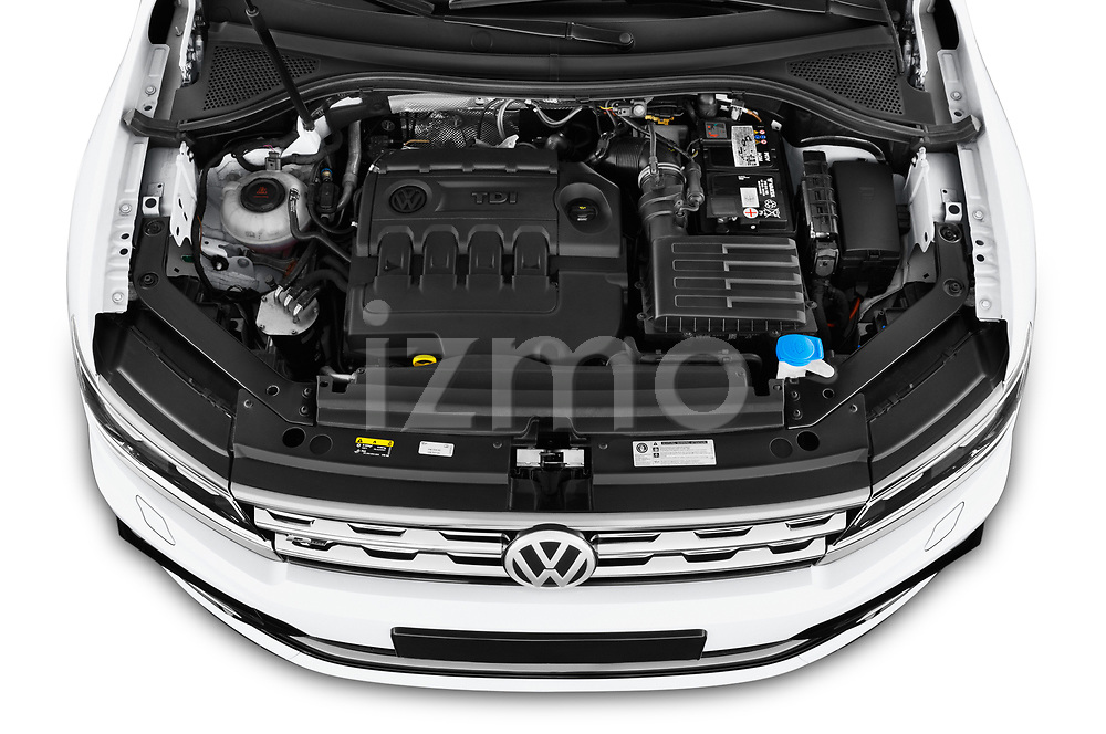 Car stock 2019 Volkswagen Tiguan Highline 5 Door SUV engine high angle detail view